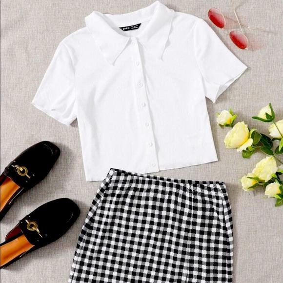 SHEIN Button Up Top And Split Hem Skirt Set